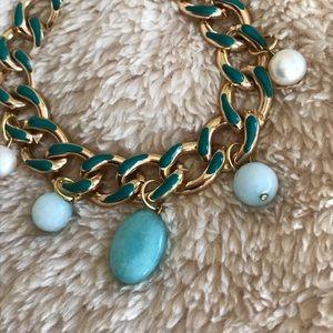 💚🤍💚  Pearl & Agate Link Charm Bracelet 💚🤍💚